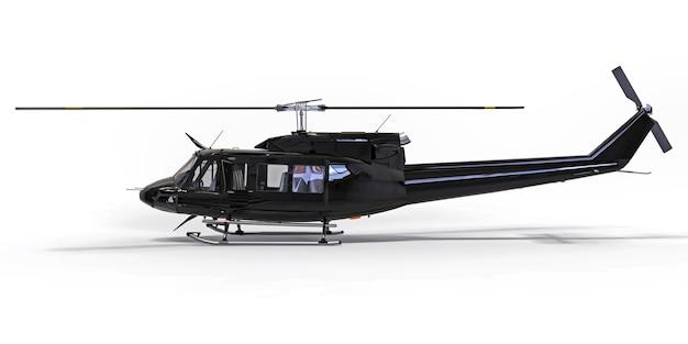 Zwarte kleine militaire transporthelikopter op wit geïsoleerde oppervlakte. de helikopter reddingsdienst. luchttaxi. helikopter voor politie, brandweer, ambulance en reddingsdiensten