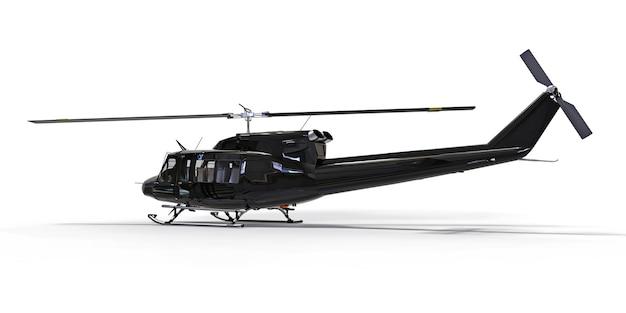 Zwarte kleine militaire transporthelikopter op witte geïsoleerde achtergrond. de reddingsdienst van de helikopter. luchttaxi. helikopter voor politie, brandweer, ambulance en reddingsdienst. 3d illustratie.