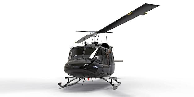 Zwarte kleine militaire transporthelikopter op witte geïsoleerde achtergrond. de reddingsdienst voor helikopters. luchttaxi. helikopter voor politie, brandweer, ambulance en reddingsdienst. 3d-afbeelding.