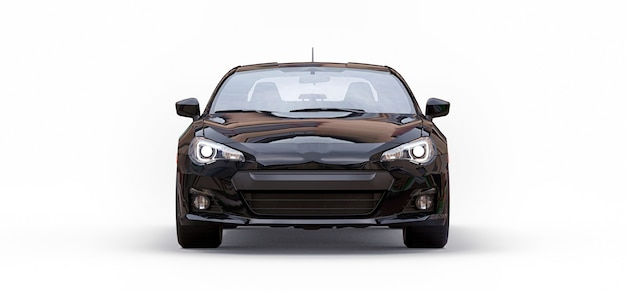 Zwarte kleine sportwagencoupé. 3d-rendering.