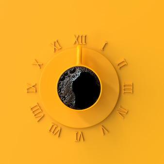 Zwarte koffie in gele kop voor tijd. het concept van het werk en van de onderbrekingstijd 3d idee, geeft terug.