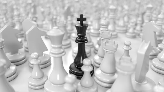Zwarte koning staat tussen verschillende witte schaakstukken in 3d illustratie