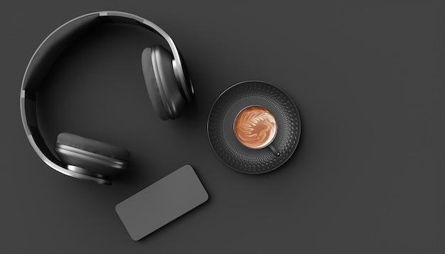 Zwarte koptelefoon op een zwarte achtergrond, 3d illustratie