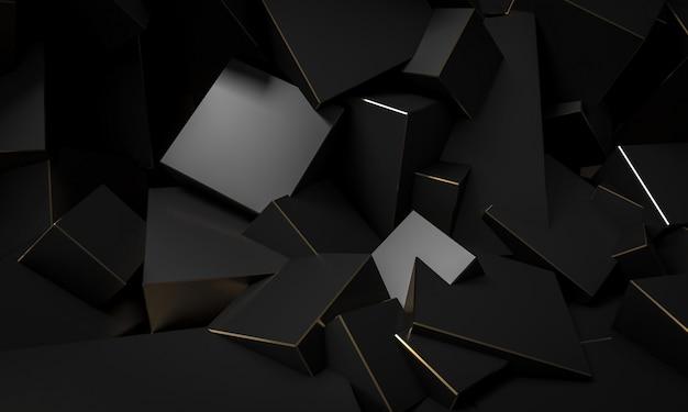 Zwarte kubieke blokken met gouden randen, minimalistische abstracte achtergrond.