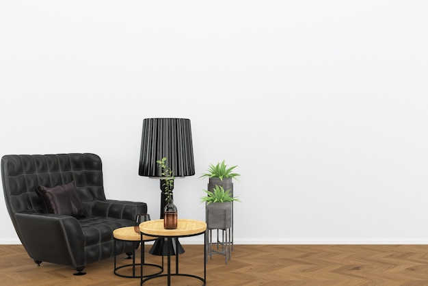 Zwarte lederen stoel donkere houten vloer woonkamer interieur lamp achtergrond loft
