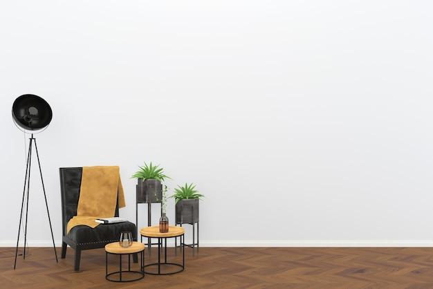 Zwarte lederen vintage stoel donkere houten vloer woonkamer interieur lamp boom achtergrond