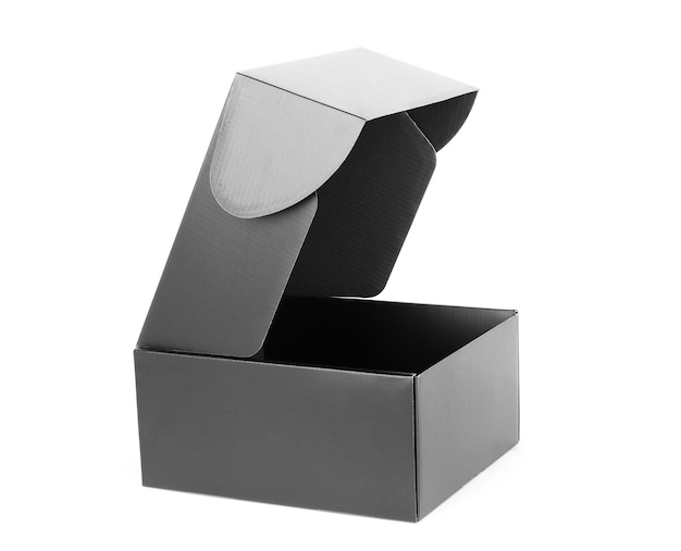 Zwarte lege doos geïsoleerd op een witte achtergrond