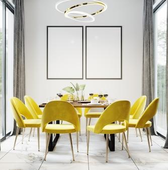 Zwarte lege frames in luxe moderne eetkamer interieur