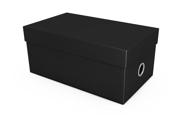 Zwarte lege kartonnen schoenendoos mockup voor uw ontwerp op een witte achtergrond. 3d-rendering