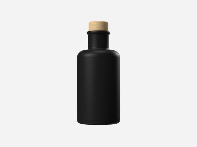 Zwarte lege / lege fles 3d-rendering verpakking container concept