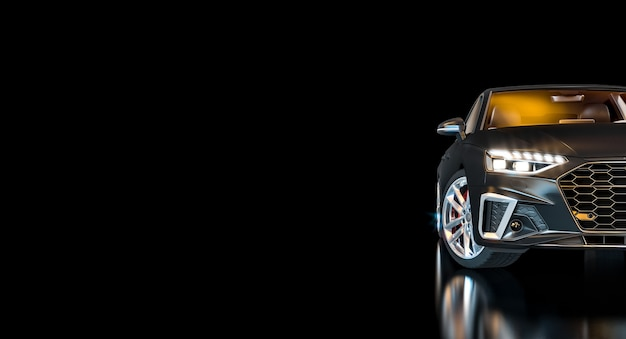 Zwarte luxeauto met verlichte koplampen op donkere achtergrond. niemand in de buurt. 3d render.
