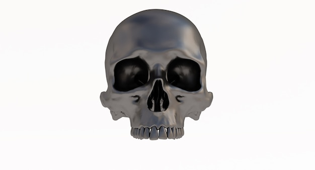 Zwarte menselijke schedel geïsoleerd op een witte achtergrond.