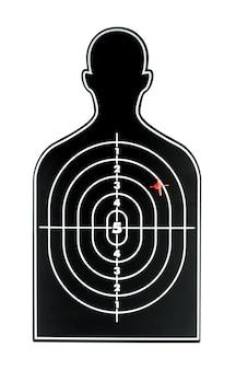 Zwarte menselijke vorm dart bord met rode pijl op witte achtergrondgeluid