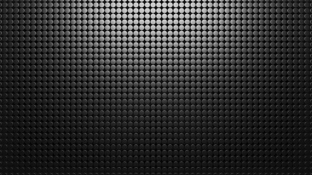 Zwarte metalen achtergrond van kleine cirkels. patroon mesh abstract 3d render. koolstof materiaal. textuur