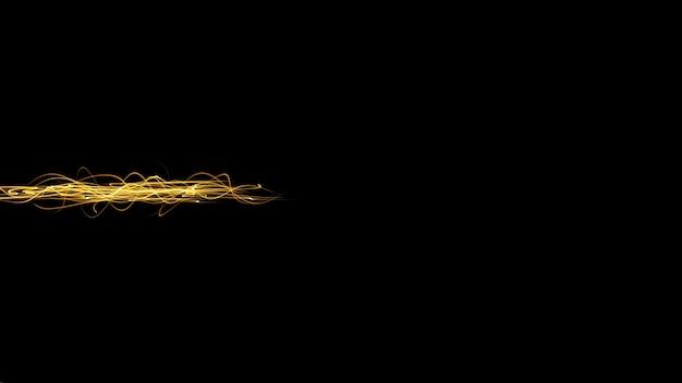 Zwarte minimalistische abstracte achtergrond met gele straal gele lichtstroom op een donkere achtergrond