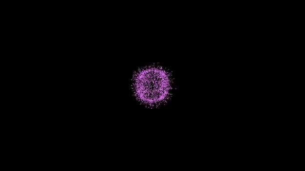 Zwarte minimalistische achtergrond met felroze bal in de middelste magenta lichte bol
