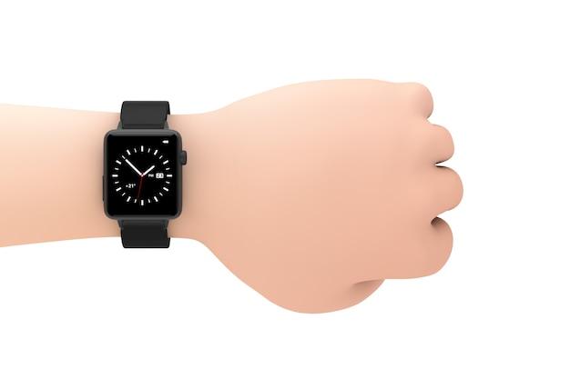 Zwarte moderne smart watch mockup en riem close-up op de pols van cartoon hand op een witte achtergrond. 3d-rendering