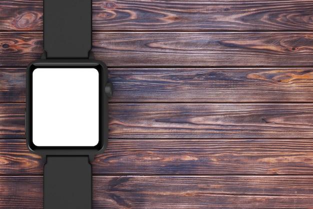 Zwarte moderne smart watch mockup en riem met leeg scherm voor uw ontwerp close-up op een houten tafel. 3d-rendering