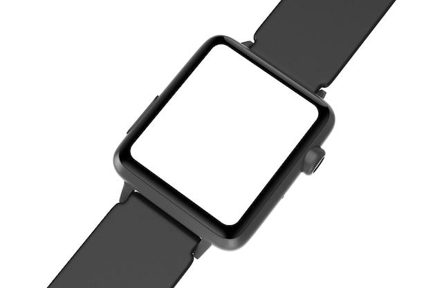 Zwarte moderne smart watch mockup en riem met leeg scherm voor uw ontwerp close-up op een witte achtergrond. 3d-rendering