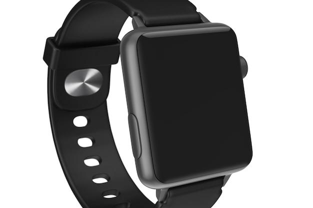 Zwarte moderne smart watch mockup en riem met leeg zwart scherm voor uw ontwerp close-up op een witte achtergrond. 3d-rendering