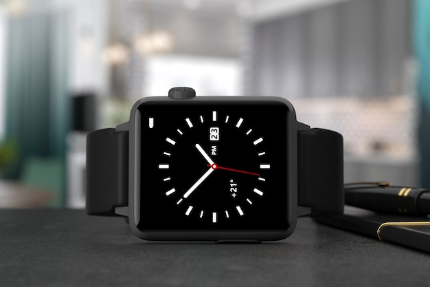 Zwarte moderne smart watch mockup met riem op een tafel extreme close-up. 3d-rendering