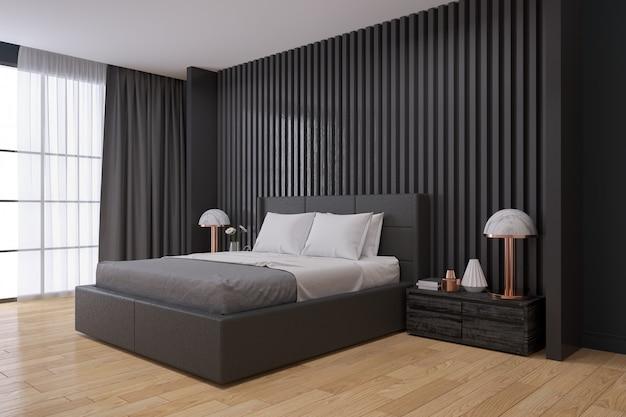 Zwarte muur, moderne slaapkamer interieur