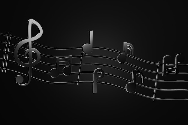 Zwarte muzieknoten en golfmuzieklijnen op duisternisachtergrond. 3d rendering illustratie. concept van rock musical.