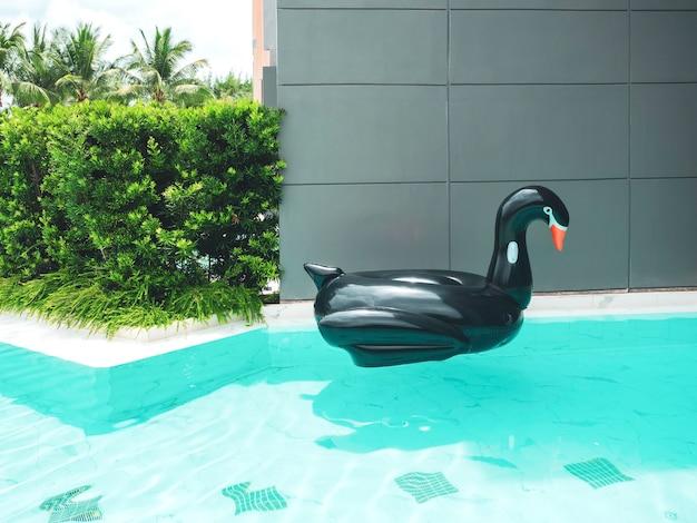 Zwarte opblaasbare zwaanvogel zwemmen ringzwembad drijvend op zomerzwembad in de buurt van grijs gebouw