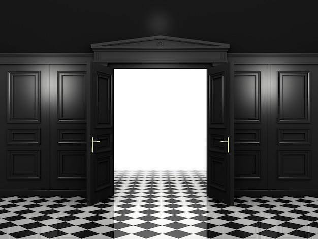 Zwarte open dubbele deuren