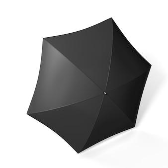 Zwarte paraplu geïsoleerd op wit. 3d render illustratie.