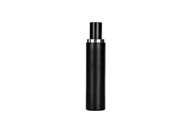 Zwarte parfumfles isoleren op witte achtergrond