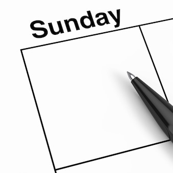 Zwarte pen over zondag kalender planner cel met lege ruimte voor uw ontwerp extreme close-up. 3d-rendering