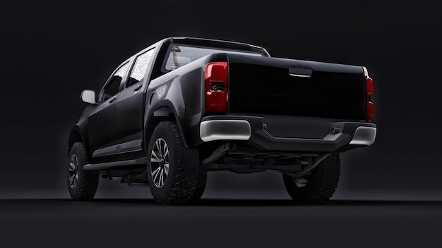 Zwarte pick-up auto op een zwarte achtergrond 3d-rendering