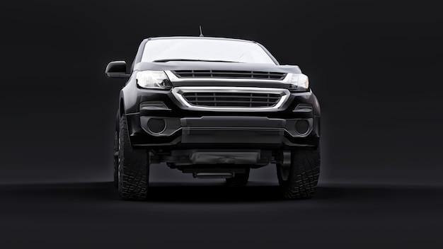 Zwarte pick-up auto op een zwarte achtergrond. 3d-rendering.
