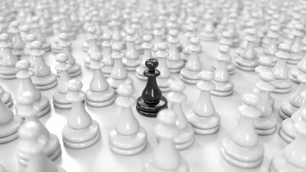 Zwarte pion staat tussen een enorme menigte witte pionnen in 3d illustratie