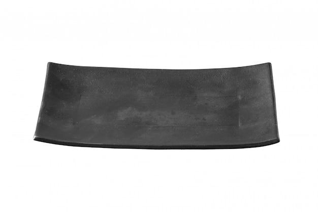 Zwarte plaat die op witte achtergrond met het knippen van weg wordt geïsoleerd
