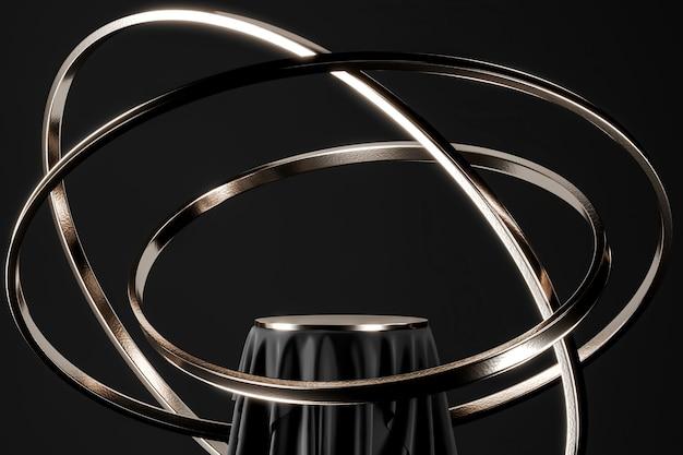 Zwarte podium en nikkel blad tafel, zwevende nikkel ring. abstracte achtergrond voor productpresentatie of advertenties. 3d-rendering
