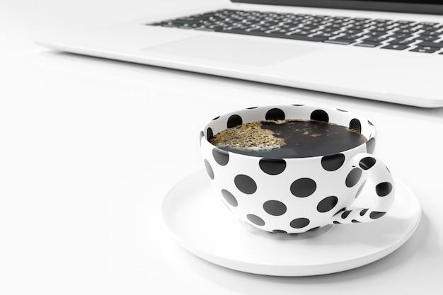 Zwarte polka dot koffiemok op witte tafel met een laptop aan de zijkant. 3d-weergave