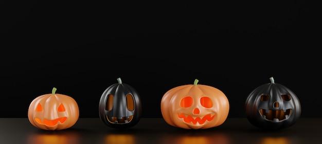 Zwarte pompoen en oranje spookgezichten zijn eng van het gelukkige halloween-dagconcept 3d render illustratie