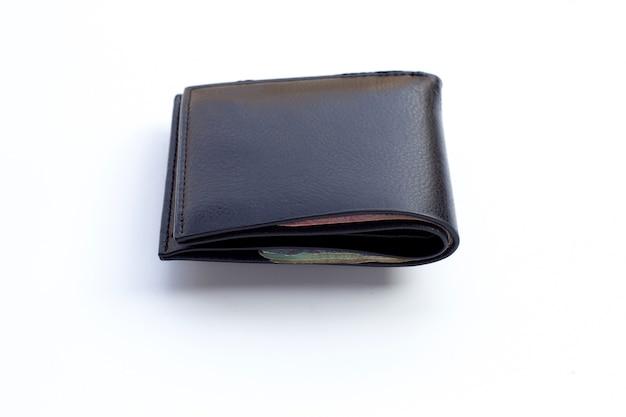 Zwarte portemonnee geïsoleerd op een witte achtergrond