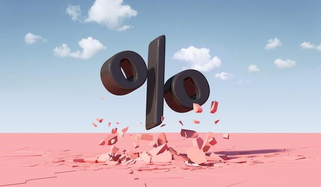 Zwarte procent symbool gebroken roze vloer abstracte minimalisme trendy achtergrond