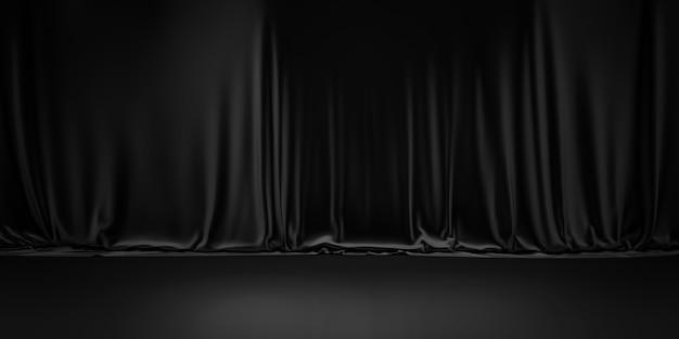 Zwarte productachtergrondruimte op donkere gordijnscèneweergave met luxe stoffenachtergronden.