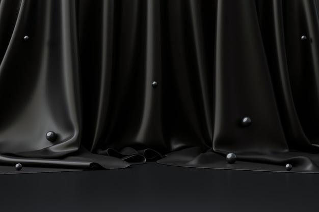 Zwarte productachtergrondruimte op donkere reclamevertoning met luxe stoffenachtergronden. 3d-weergave.