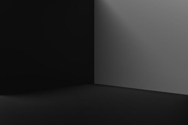 Zwarte productachtergrondstandaard of podiumvoetstuk op het display van de advertentieruimte met lege achtergronden. 3d-weergave.