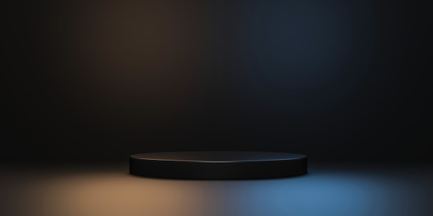 Zwarte productachtergrondstandaard of podiumvoetstuk op neonlichtreclame met lege achtergronden.