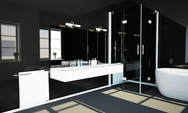Zwarte reflecterende badkamer