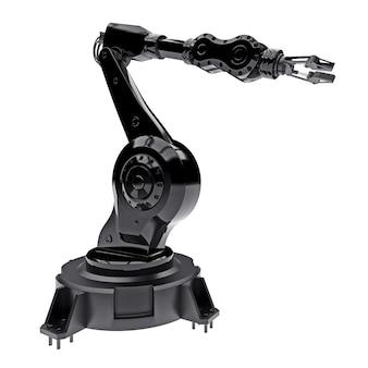 Zwarte robotarm voor elk werk in een fabriek of productie. mechatronische apparatuur voor complexe taken. 3d illustratie.