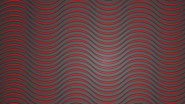 Zwarte rode achtergrond van golven 3d render