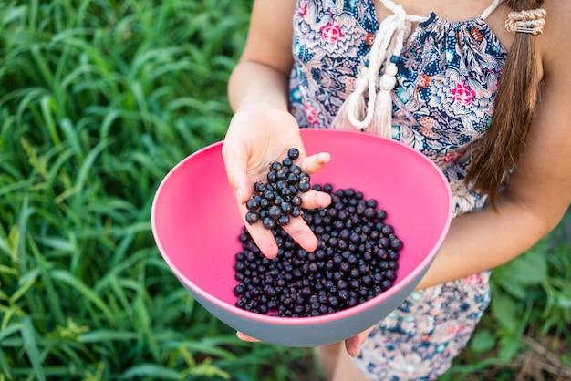 Zwarte sappige bessen van verse bessen in de hand van het meisje