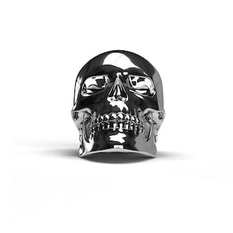 Zwarte schedel chroom op wit geïsoleerd
